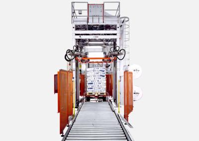 Machines de houssage pour palettes avec film tubulaire étirable
